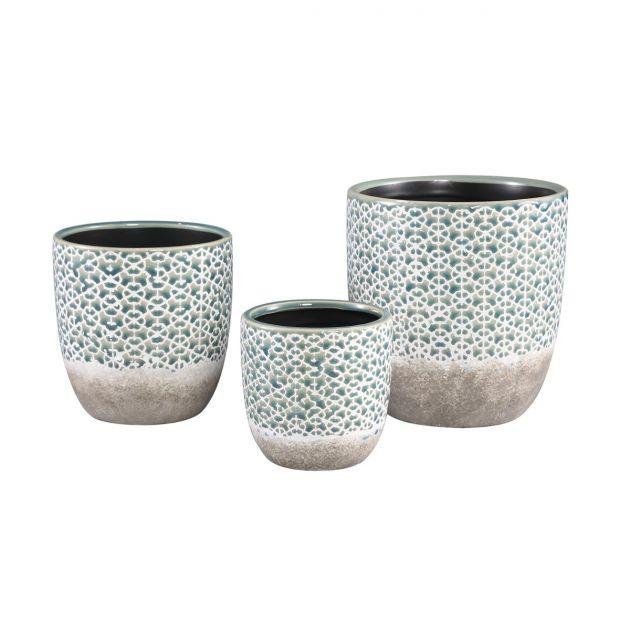 Vaso Iggy Flower | Vaso in ceramica doppio colore motivi a fiori