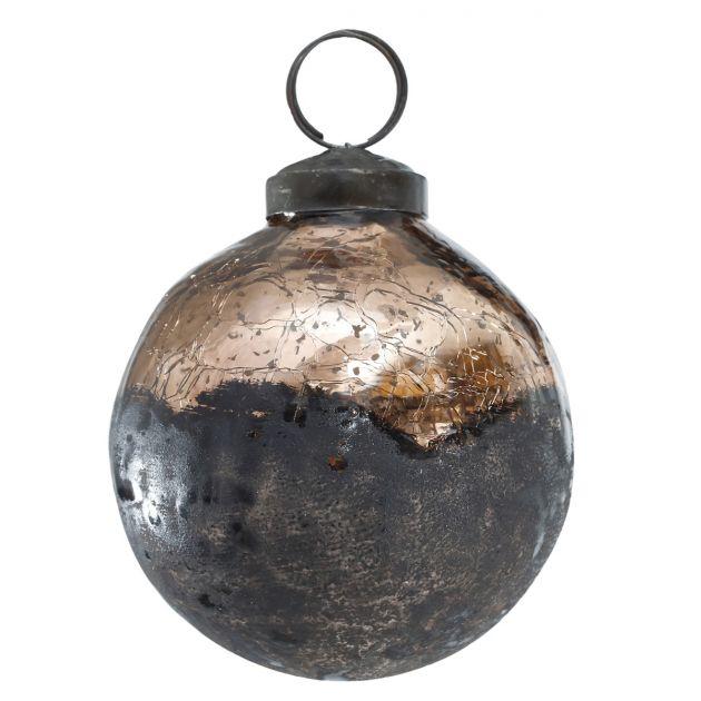 Indy - Pallina di Natale in vetro rame anticato D8