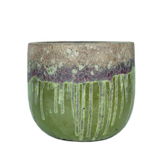 Vaso Kaysa Green | Vaso in terracotta doppio colore realizzato a mano
