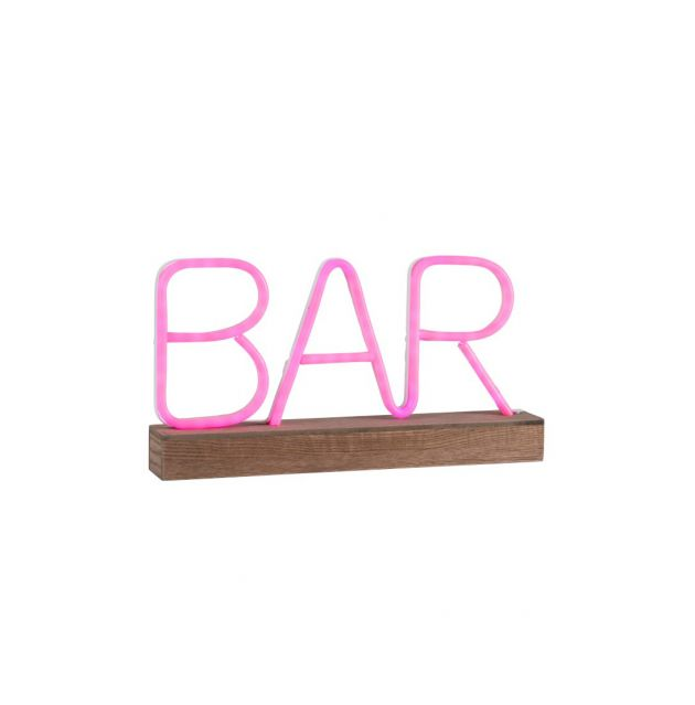 Lampada decorativa neon LED scritta Bar rosa
