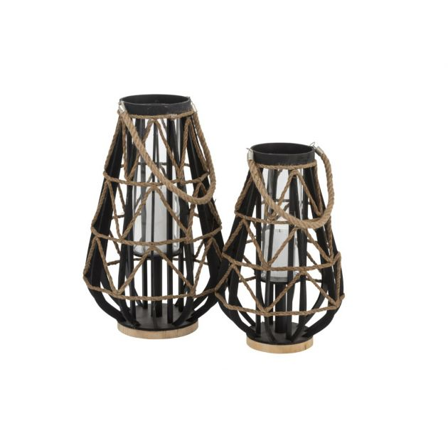 Lanterna in Legno nero con intreccio di corde : lanterne e portacandele in legno