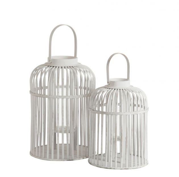 Lanterna Vimini Bianca : Lanterna Porta Candela per interno ed esterno