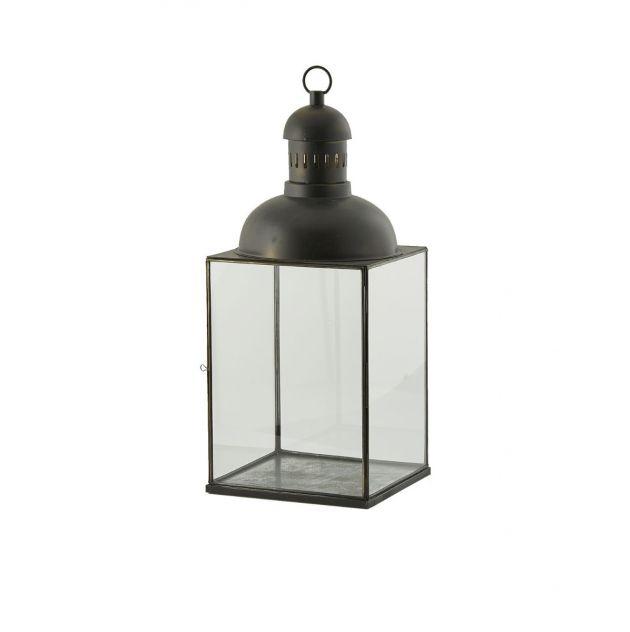 Lanterna quadrata H76 vetro con cupola in metallo EDG