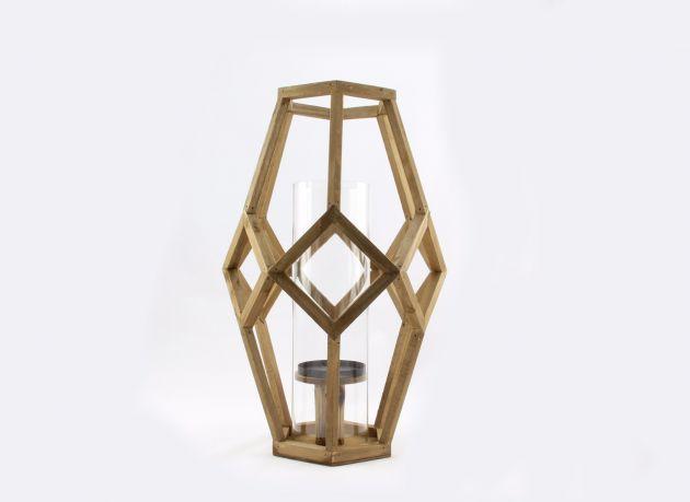 Lanterna Cubist H54: lanterne grandi in legno Pomax