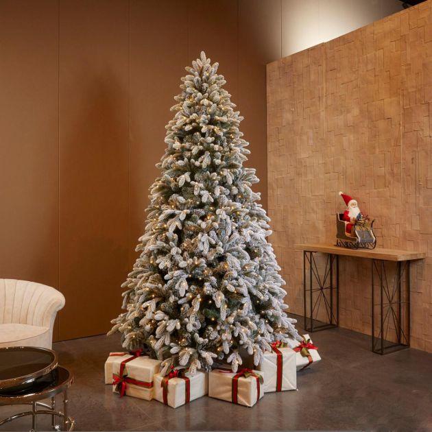 Pino Merano Innevato LED | Albero di Natale artificiale innevato con luci LED integrati
