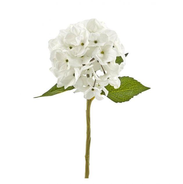 Fiore artificiale di ortensia bianco H38