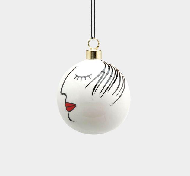 Palla Viso D7 : Pallina di Natale viso femminile in ceramica