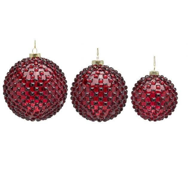 Palla Vetro Jems : Palline di Natale in vetro rosso con rilievi 3D