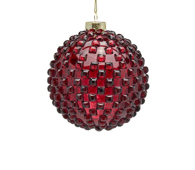 Palla Vetro Jems D10 : Palline di Natale in vetro rosso con rilievi 3D