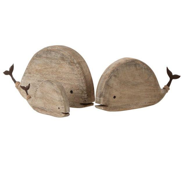 Balena in Legno naturale e coda in metallo: Sculture in Legno