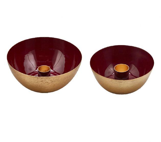 Ciotola Portacandela Charm colore Amaranto e Oro