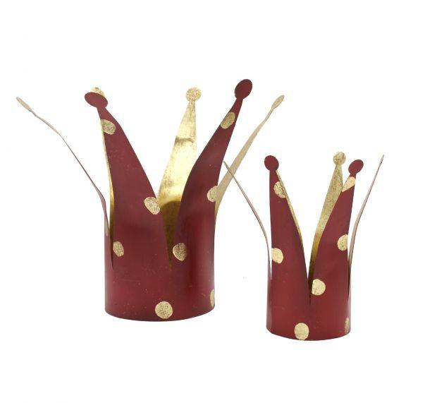Portacandele Corona rosso a pois oro