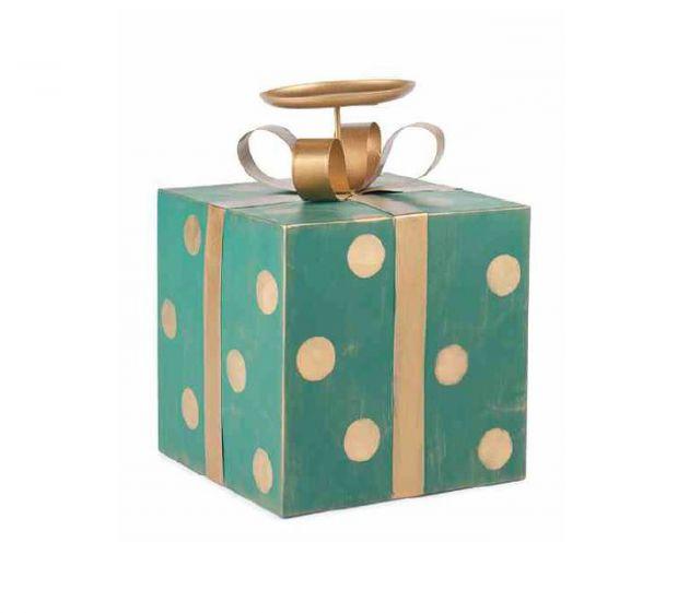 Portacandele a forma di pacco regalo verde a pois oro H28