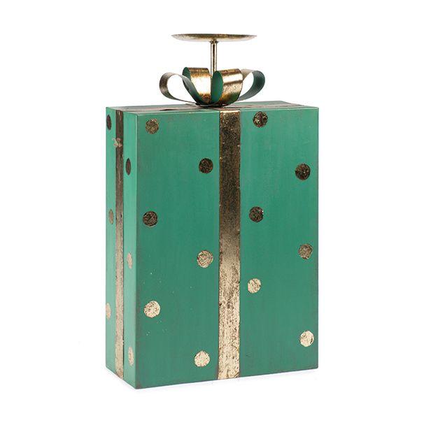Portacandele a forma di pacco regalo verde a pois oro H38