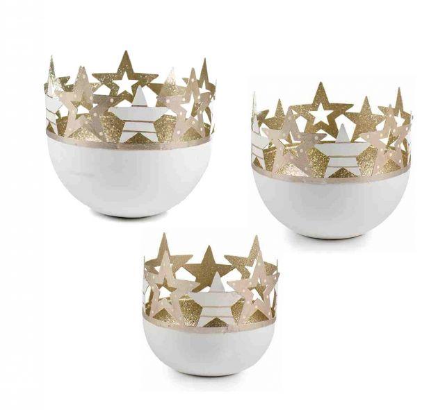 Porta Tealight Stelle bianco e oro