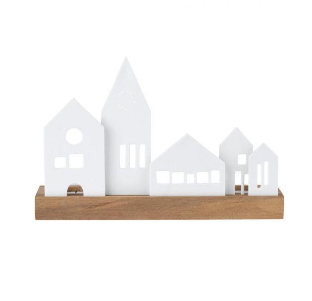 Portatealight City con base in legno