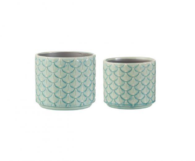 Portavasi conchiglia in ceramica azzurra