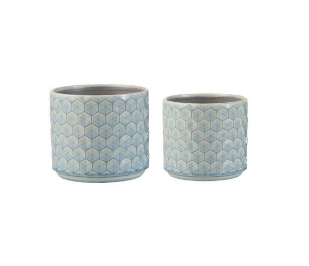 Portavasi quadri ceramica blu