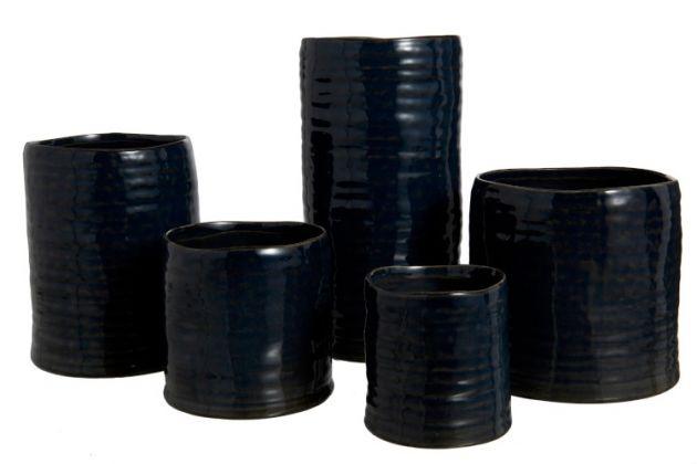 Portavasi irregolare ceramica blu night : Vasi in ceramica di design