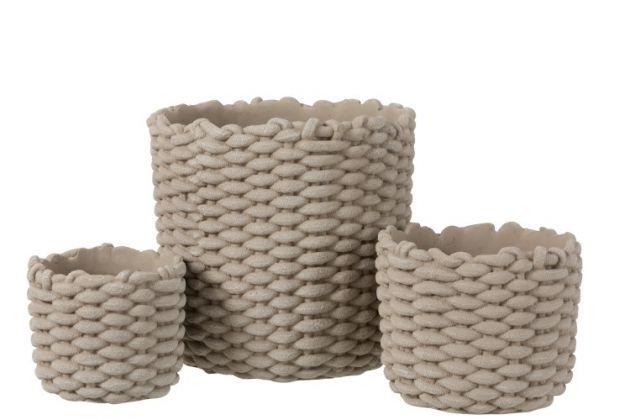Portavaso corda in cemento grigio : Portavasi in cemento di design