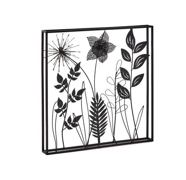 Quadro foglie metallo nero quadrato H41x41