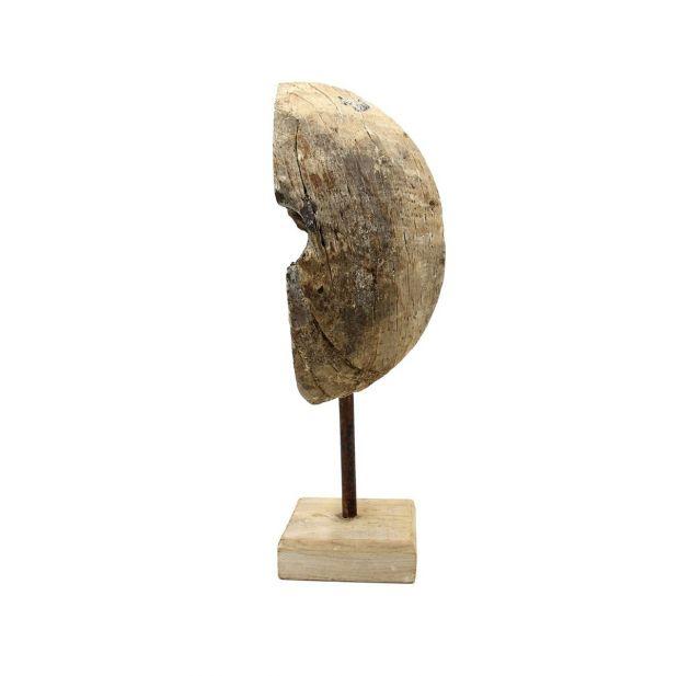 Mezza Ruota vintage su base in ferro: sculture in legno PTMD