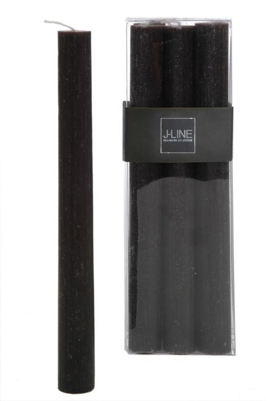 6 Candele nere lunghe: candele di cera colorate J Line
