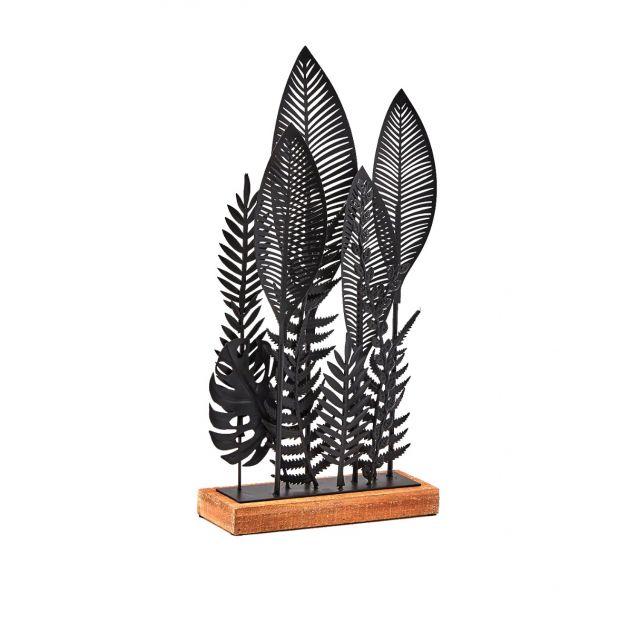 Decoro foglie metallo nero su base in legno