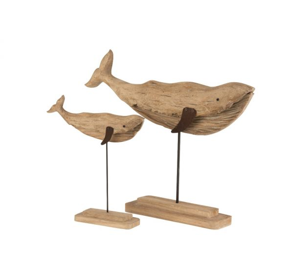 Scultura Balena in legno naturale