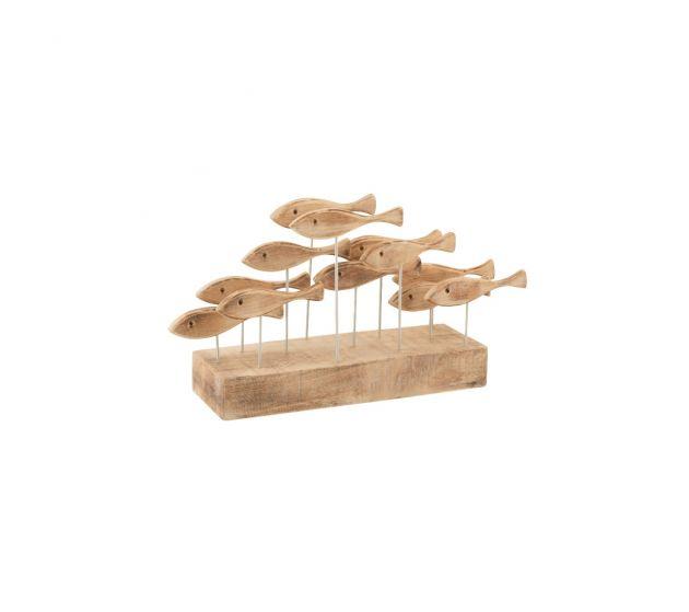Scultura Branco di Pesci su base in legno di Albasia naturale