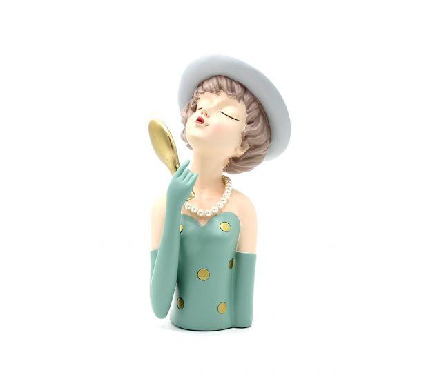 Scultura Mezzo Busto Donna con Specchio da Trucco