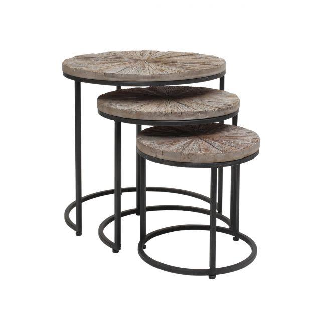 Vic Natural | Set 3Pz tavolini da caffè tondi in legno e ferro