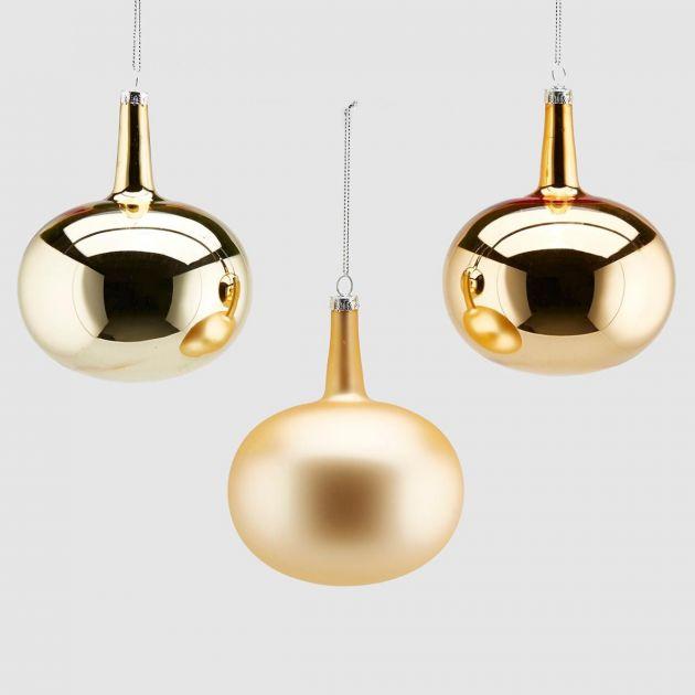 Palla Vetro Neck D10 Set 3 colori assortiti : Palline di Natale in vetro oro