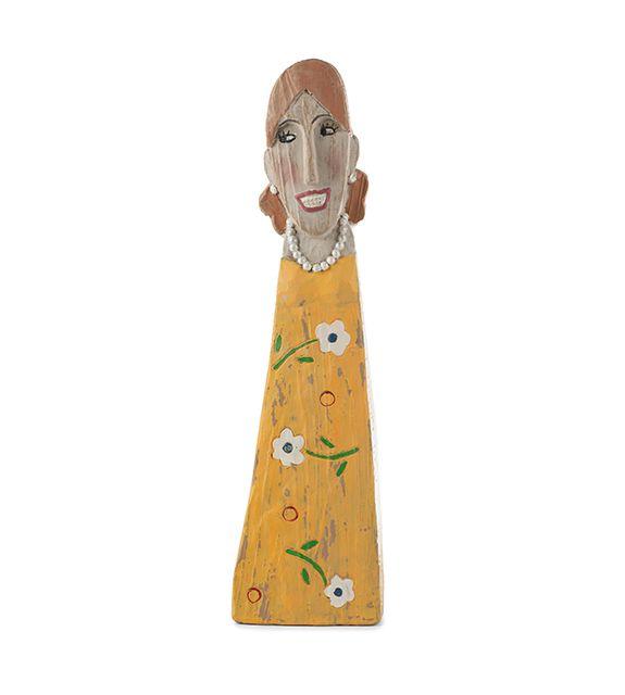 Statuetta donna in poliresina con abito giallo : Statuette divertenti raffiguranti persone