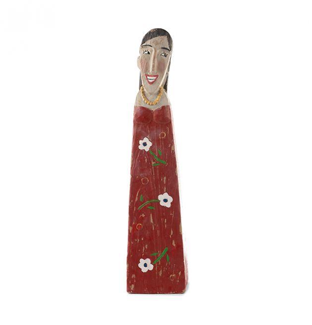 Statuetta donna in poliresina con abito rosso : Statuette divertenti raffiguranti persone