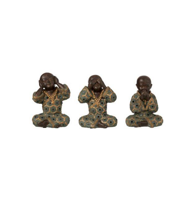 Set 3 statuette monaci zen non sento, non vedo, non parlo H15