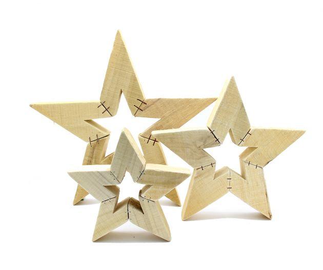 Stella Poplar in legno naturale : Decorazioni natalizie in legno naturale