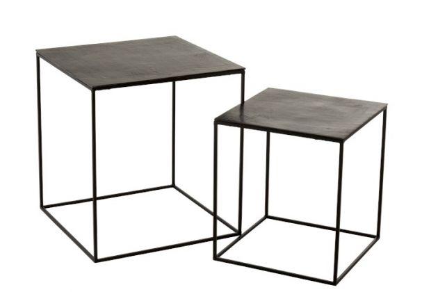 Set 2 tavolini Oxidize : Tavolini da salotto in Alluminio e Ferro Nero/Verde