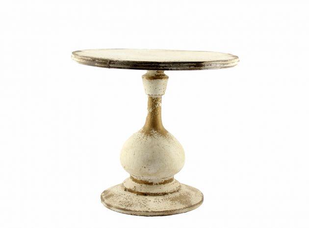 Tavolino rotondo shabby chic H46 decapè bianco design EDG