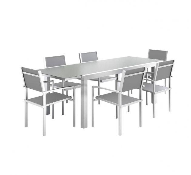 Set tavolo con sedie in alluminio e vetro estensibile da esterno