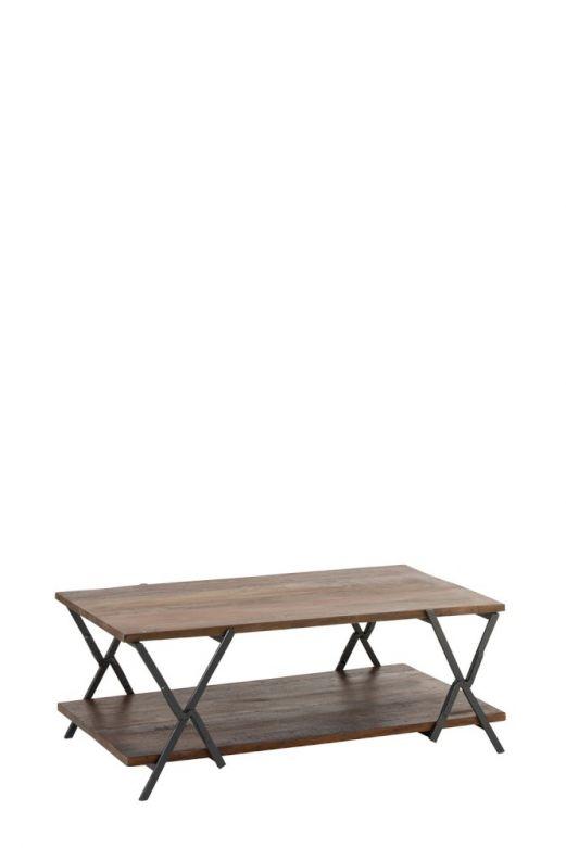Tavolino rettangolare da divano in legno e ferro Vintage Marrone/Nero