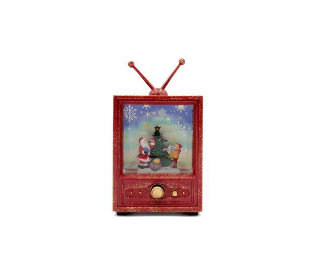 Televisore con Babbo e Albero di Natale con led e neve