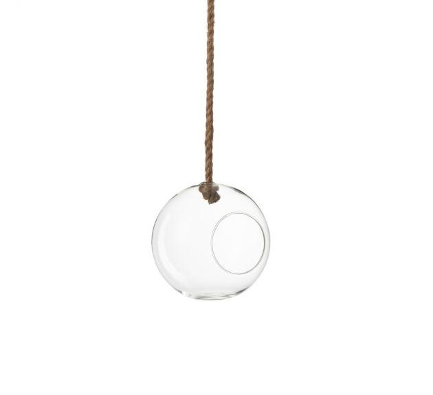 Terrario Palla in vetro trasparente con corda naturale