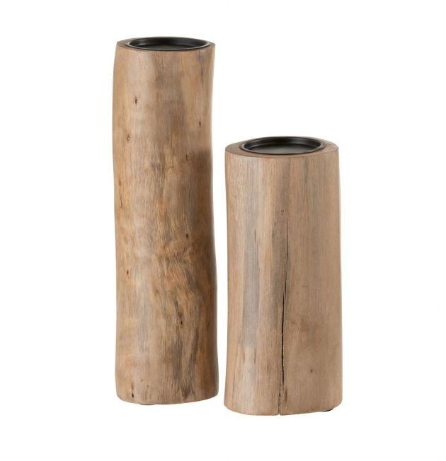 Tronco Portacandela : Portacandela di design in legno naturale
