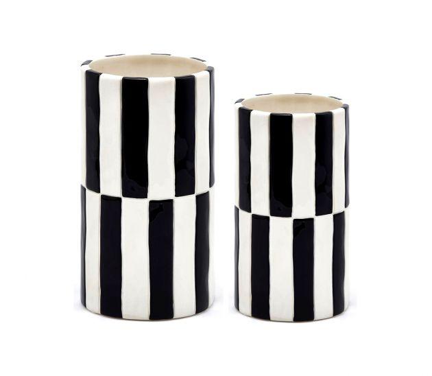 Vaso cilindro righe bianco e nero