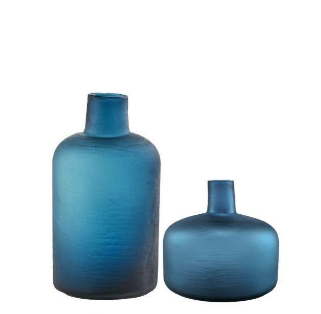 Vaso bottiglia blu: vasi in vetro molato design EDG