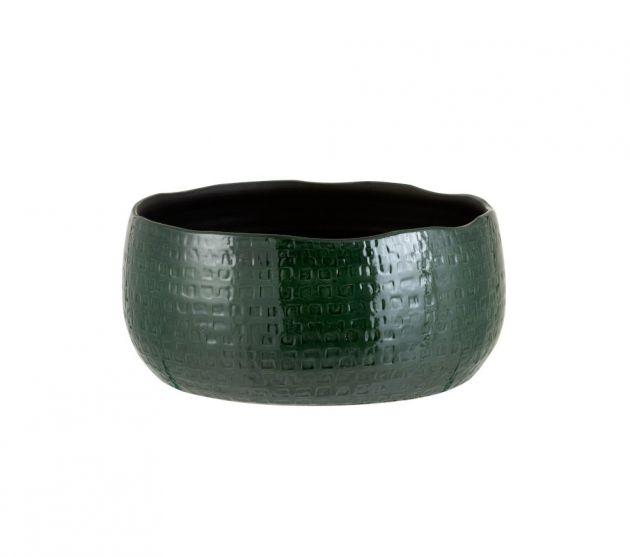 Vaso ciotola bassa in ceramica smaltata verde