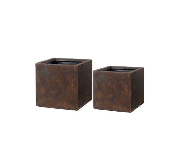 Vaso Cubo Rust Corten : Vasi di design da esterno