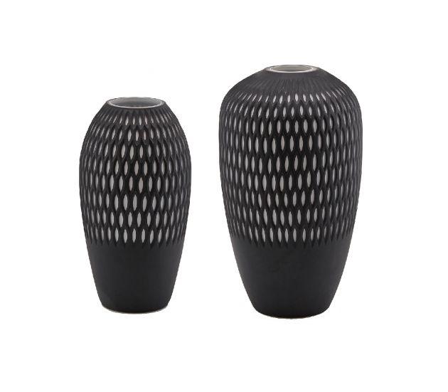 Vaso anfora retato in vetro Nero e Bianco