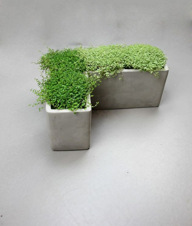 Memory angolo: vasi in cemento da esterno o da interno D&M